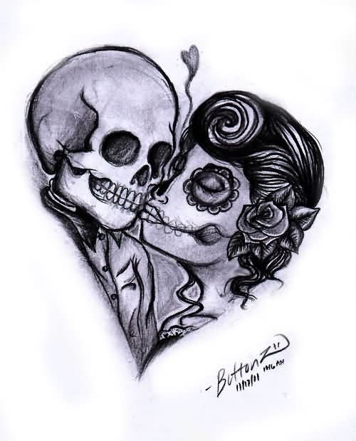 Day Of The Dead Couple Tattoo Sample