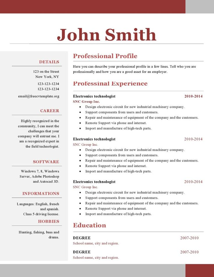 Word Resume Template  One Page Resume Template Free Download Best