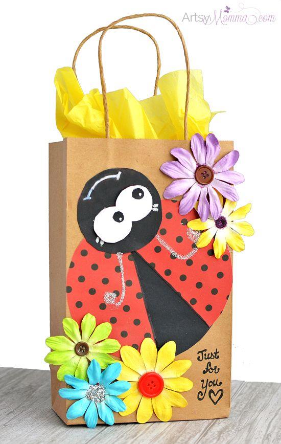 Cutesy DIY Ladybug Gift Bag Tutorial - adorable spring gift bag idea!