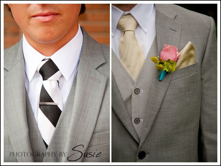 Grey tux with champagne tie/pocket and blush bout