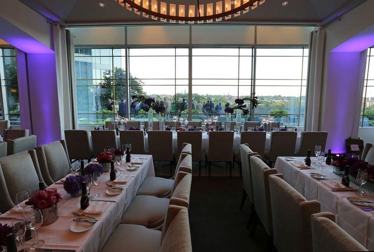 purple uplighting in Amuse Restaurant for October wedding