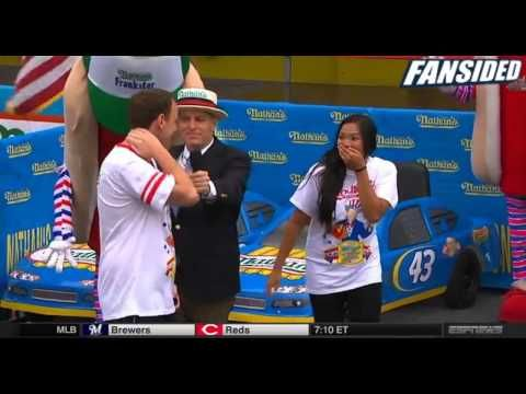 Joey Chestnut Proposal to Girlfriend at 2014 Nathan's Hot Dog Eating Con...