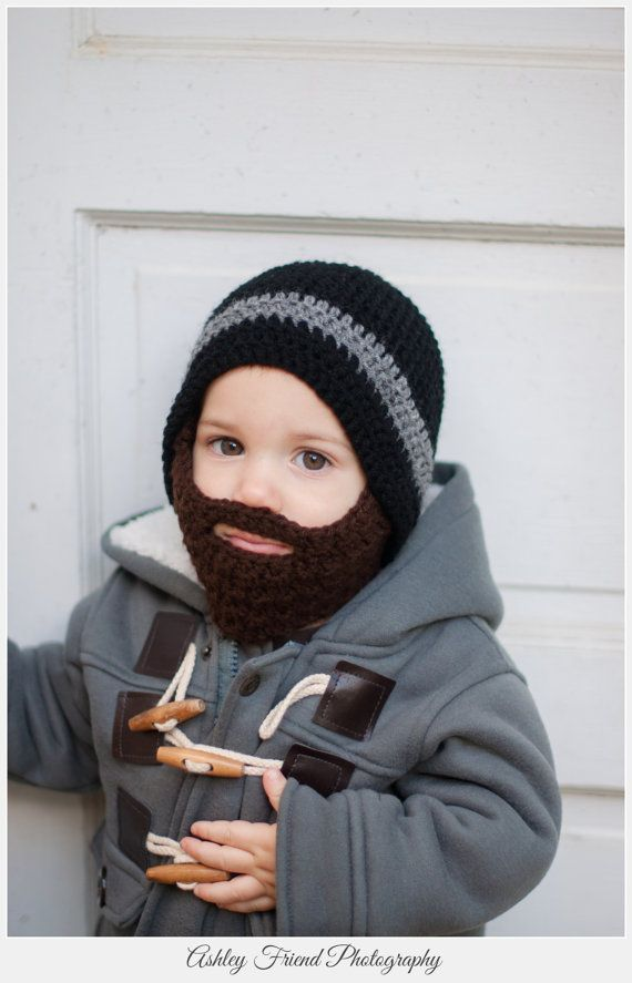 Child Knit Hat With Beard Pattern Hair