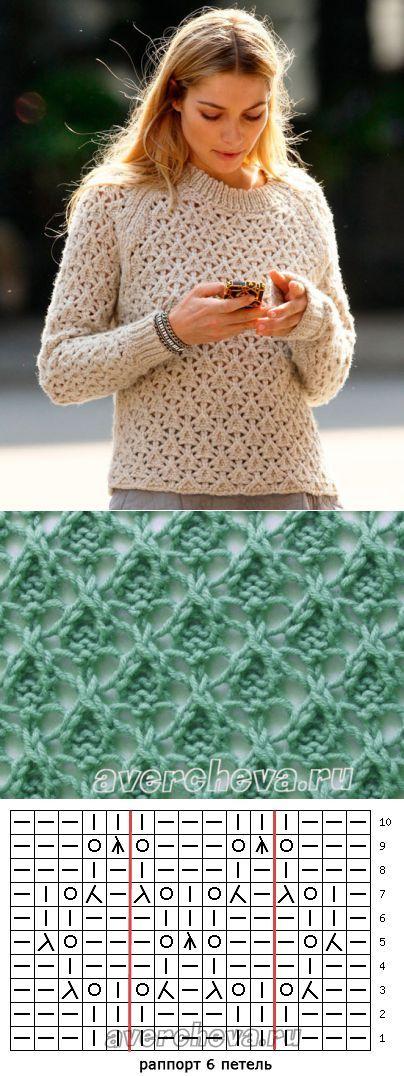 узор 476 ажурные треугольники | каталог вязаных спицами узоров | Вязание | Постила