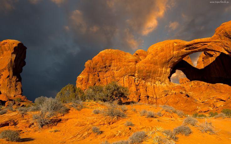 Kanion, Utah, Skały, Chmury