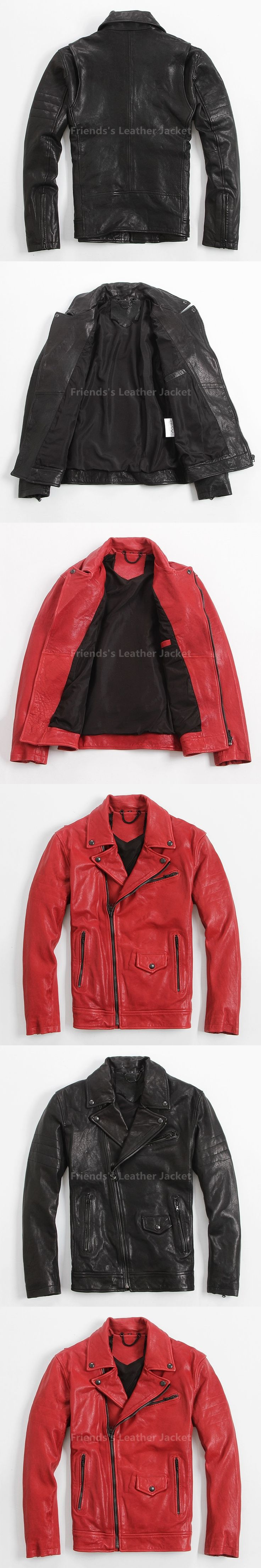 2018 Red Men Motorcycle Leather Jacket Diagonal Zipper Plus Size XXXL Slim Fit Short Winter Biker Leather Coat FREE SHIPPING