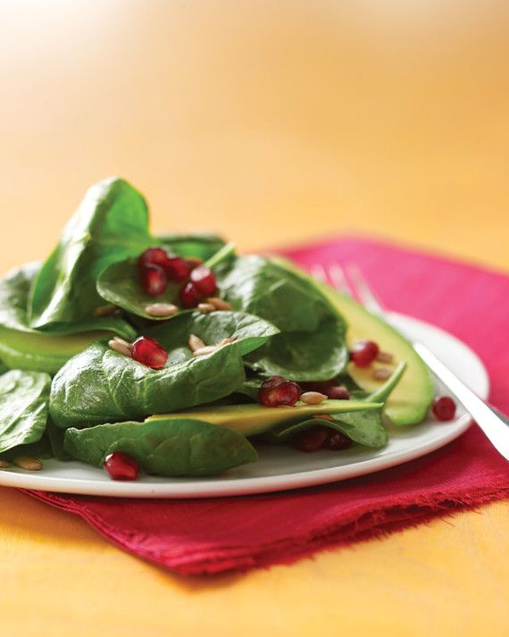 Buttery avocado and tart, juicy pomegranate seeds provide a gorgeous contrast in texture, taste, and color to shake up your salad routine.