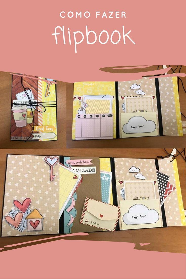 Aprenda a fazer um flipbook de scrapbook com envelopes tamanho carta. Passo-a-passo scrapbook. Tutorial flipbook para troca.