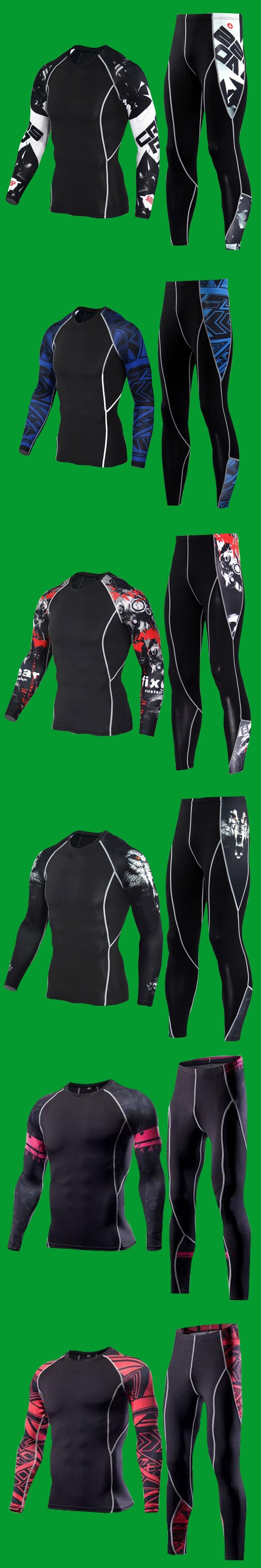 Compression Suits for Men 3D Prints Long Sleeves Rashguard MMA Compression Shirt Full Length Pants for Bodybuilding Crossfit