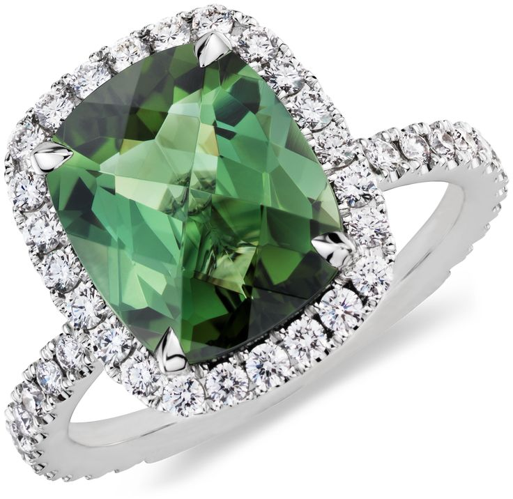 Stunning Green Tourmaline and Diamond Ring BlueNile