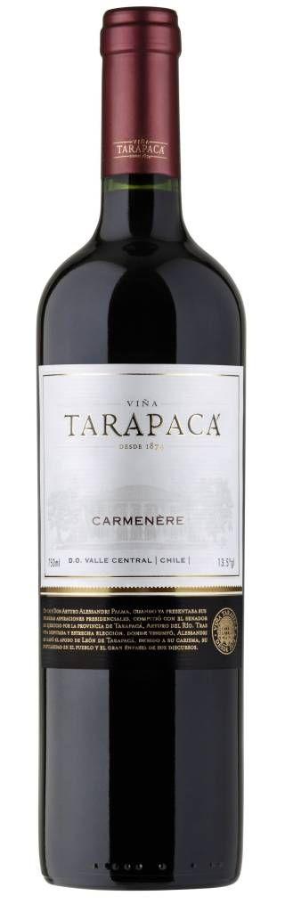 www.wijnkraam.nl - Vina Tarapaca Carmenere Heldere kersenrode wijn, gedomineerd door aroma's van rode bessen, kruiden, paprika, noten en een vleugje kokos en vanille. Haar zijdezachte, diepe tannines en aangename afdronk maken het zeer eenvoudig om de wijn te drinken.