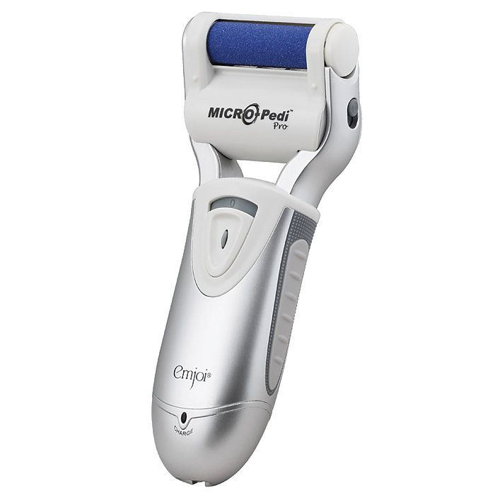 Emjoi® Micro-Pedi® Pro Rechargeable Callus Remover $69-cordless-rechargeable-travel pouch-brush micro-mineral rollers more comfortable & easier than metal scrapers which use blades to cut skin