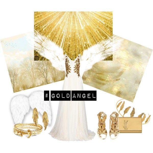 Gold Angel by miqua on Polyvore featuring Mode, Marchesa, Giuseppe Zanotti, Yves Saint Laurent, LeiVanKash, Brooks Brothers and Maria Nilsdotter