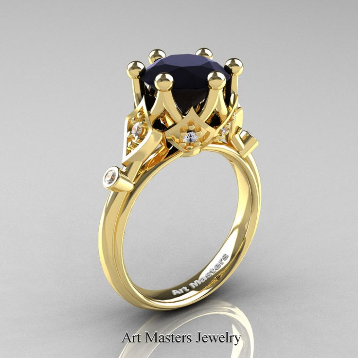 Modern Antique 14K Yellow Gold 3.0 Carat Black and White Diamond Solitaire Wedding Ring R514-14KYGDBD