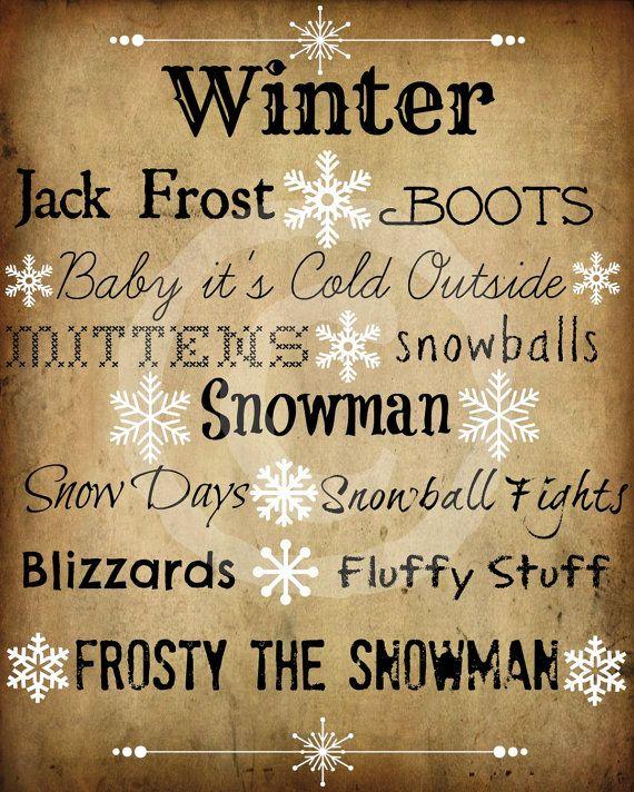 Primitive Winter Sayings Snowflake Word Art by Starrmtnprims, $3.00