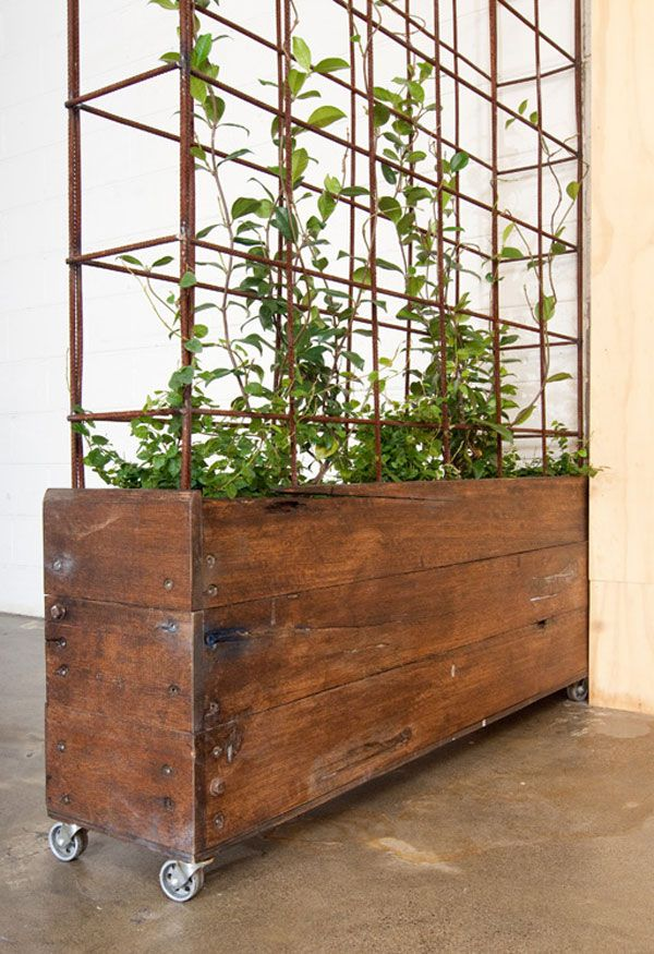 Reclaimed hardwood planter. Steel castors with REO steel frame. Plants not included. Contact us today for a custom wood steel planters.