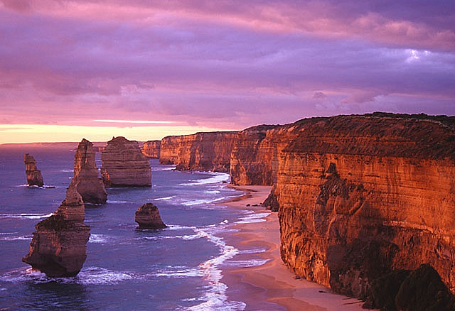 12 Apostles, Great Ocean Road, Australia, at Sunset Photo by jaxybelle, via Flickr