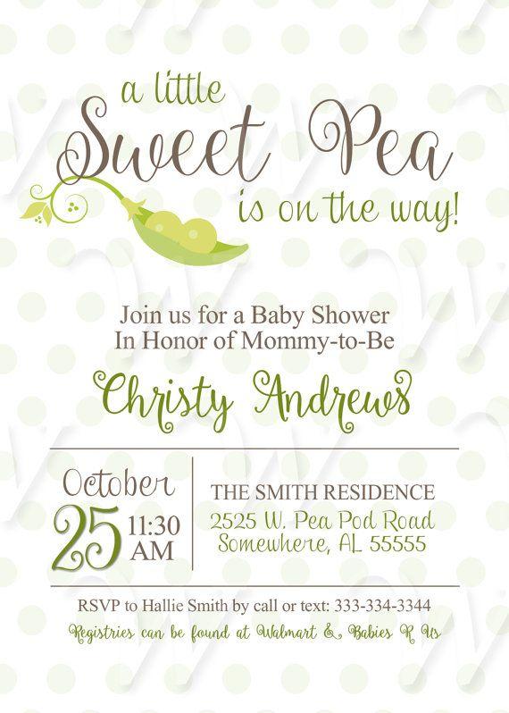 Baby Shower Sweet Pea Invitations Printable Pea by Wedinfinity
