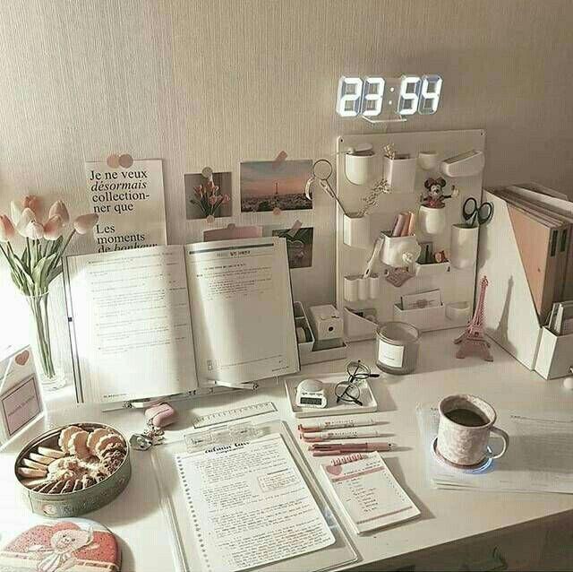 Korean Desk Study Stationery Aesthetic Seoul Beige Coffee