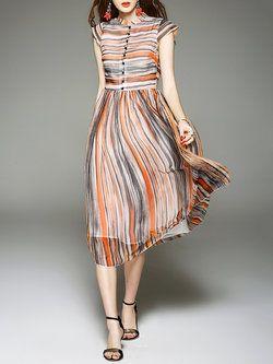 Laranja de manga curta de seda vestido de camisa