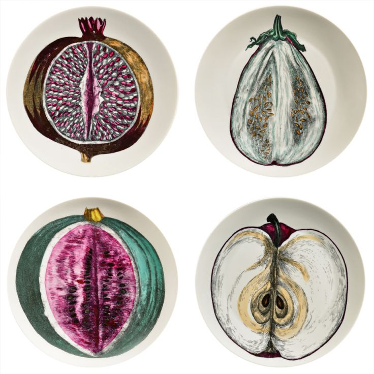 A Set of Four Piero Fornasetti Pates FromThe Sezioni Di Frutta Series.    https://www.1stdibs.com/dining/dinner-plates $3,500/set