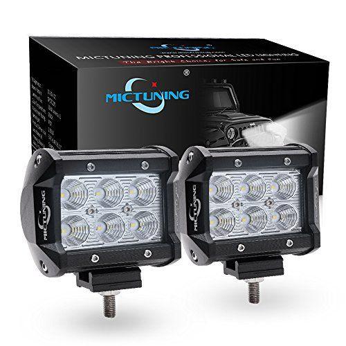 MICTUNING 2pcs 4″ 18W Projecteur Phare de Travail Feux Antibrouillard LED LED CREE 4X4 pour Camion, Off Road, 4×4, SUV, UTV, VTT, Bateau,…