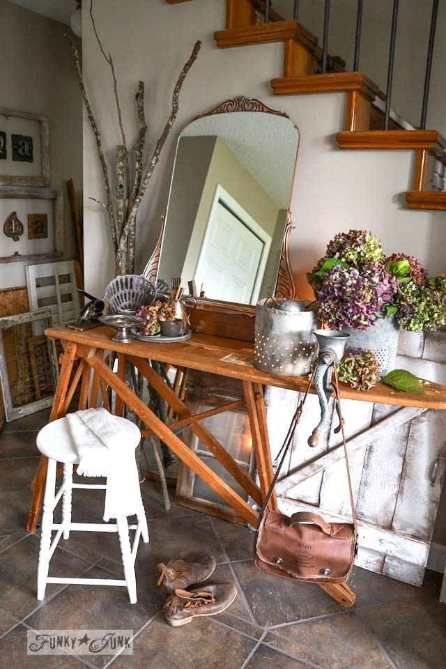Old window and gate styled wainscotting  / Fall junkers unite with an ironing board table, a pin board and a linkup! via http://www.funkyjun...
