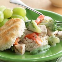 Speedy Turkey Alfredo over Biscuits by Tablespoon