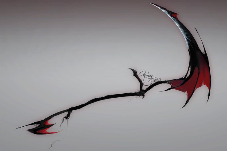 A cool scythe made out of the wings of a dragon.