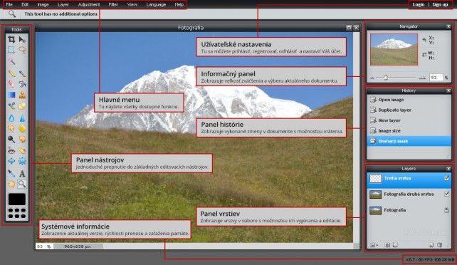 online Pixlr s popisom funkcií