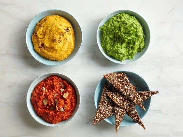 Low calorie chip and dip recipes - green goddess, artichoke hummus, spanish pepper dip, wasabi pea dip, seeded tortilla chips, sesame pita chips, old bay chips