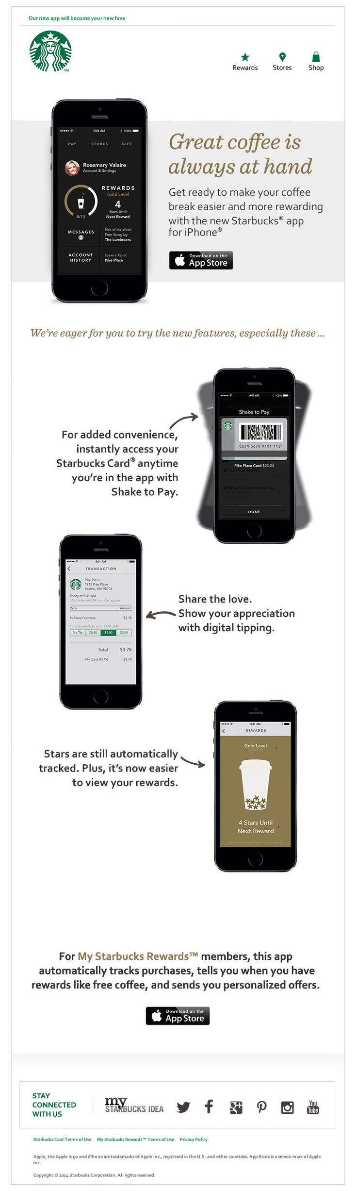 The starbucks improved mobile app email shows off their new and improved mobile app in a clear and concise way that s easy to scroll see the full email