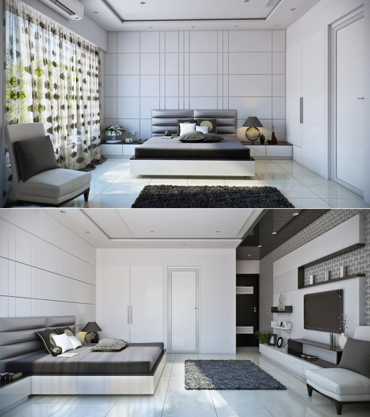Bedroom:Comely Bedroom Two Way With Slim Beds With Headboard Also Cushions Table Lamps Curtains With Chair Also Rugs And Tv Cabinet With White Wall As Well As Marble Floor Its Fresh Beedroom Design Ideas Some Ideas of Modern Bedroom Design to Inspire You