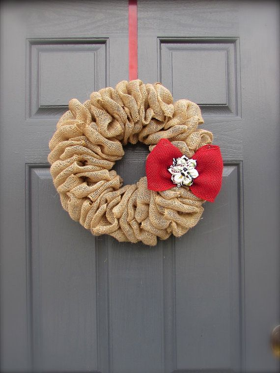 Burlap Wreath  Red Bow  Burlap Decor  Small by WreathsByRebeccaB, $40.00