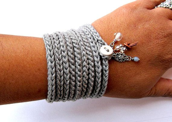 Light and soft crochet wrap bracelet or necklace made of cotton yarn in a perfect shade of light, silver gray featuring beaded glass, leather cord