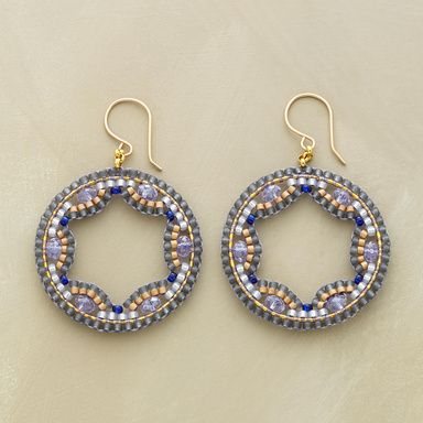 """MIDNIGHT LACE EARRINGS--Blue quartz rondelles sparkle within lacy weavings of blue and gold Japanese glass seed beads. 14kt goldfill hoops and French wires. Handmade in USA by Miguel Ases. 2""""L."""