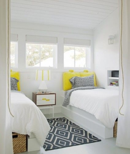 love the blank canvas dotted with yellow and an eye-catching black printed carpetGuestroom, Beach House, Contemporary Bedroom, Guest Bedrooms, Bedrooms Design, Colors, Kids Room, Twin Beds, Guest Rooms
