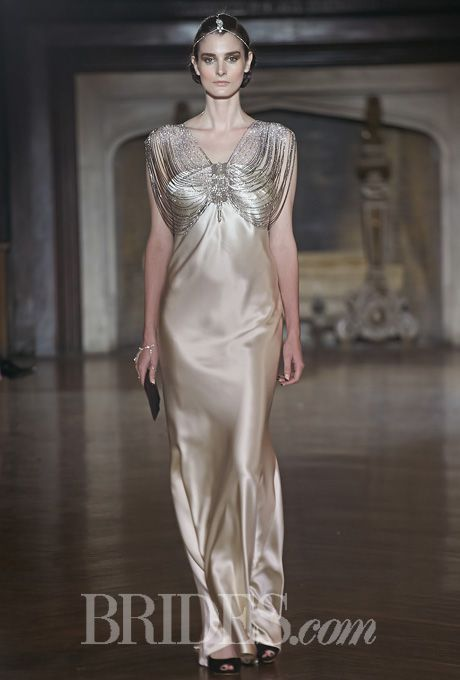 Brides.com: Johanna Johnson Metallic Wedding Dress with Statement Neckline Fall 2014   Click to see more from this collection!