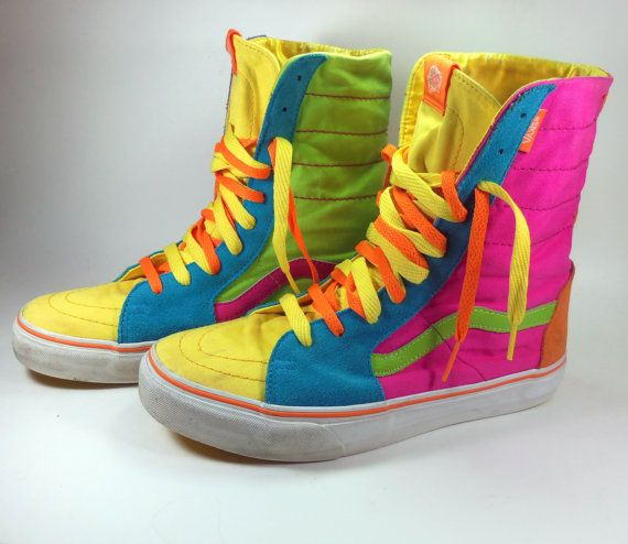 Vintage Van's Off The Wall Hi Tops, Neon Day Glow Skate Shoes on Etsy, $195.00