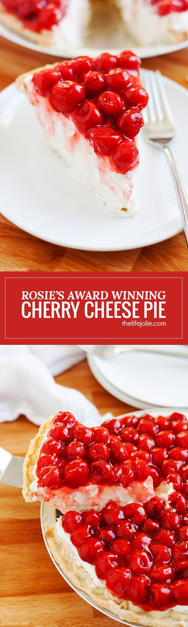 Rosie's Award Winning Cherry Cheese Pie is a favorite family recipe- it is insanely easy and heavy cream, cream cheese, vanilla, confectioner's sugar and cherries make up the minimal ingredients. It looks gorgeous on any dessert tables, especially for the