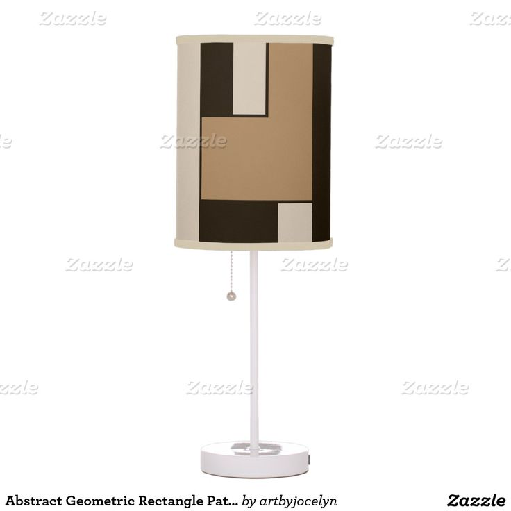Abstract Geometric Rectangle Pattern Camel Brown Desk Lamp