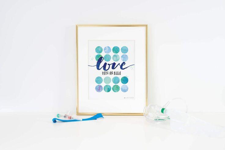 Men in Blue   Police Officer Gifts   Police Officer Wife   Love Men In Blue Printable Art   Police Wedding   Police Wife  Police Print #policelove