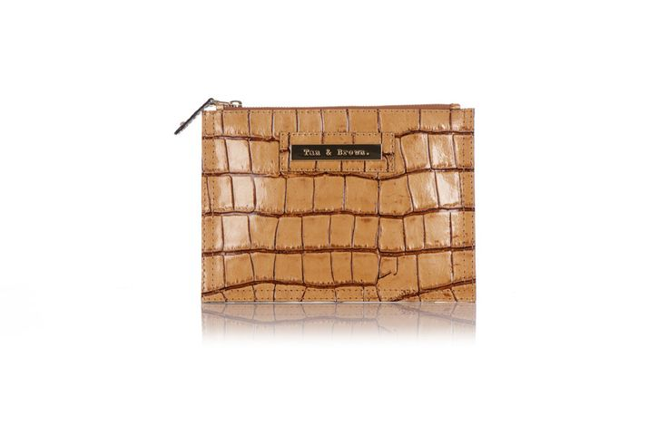 Tan and Brown Zip Clutch in Toffee Croc Cowhide – Tan & Brown