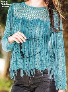 Pink Rose Crochet: Blusa Azul Turquesa com Franjas