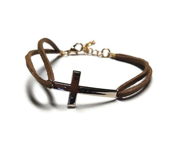 Cross Charm Bracelet Brown Leather Bracelet by BriAndAshStore