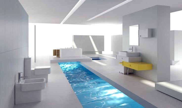White minimalist bathroom interior design rendering