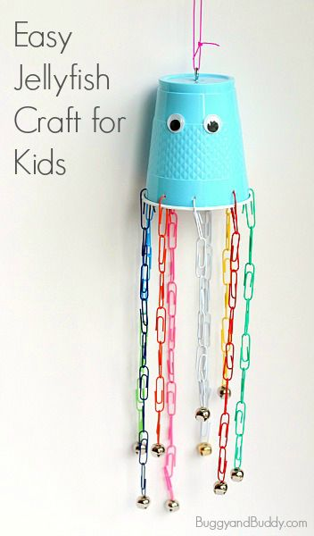 Paperclip and Cup Jellyfish Craft for Kids: Perfect for summer or and ocean until and provides fine motor practice. (Add some bells to make a wind chime!) ~ BuggyandBuddy.com