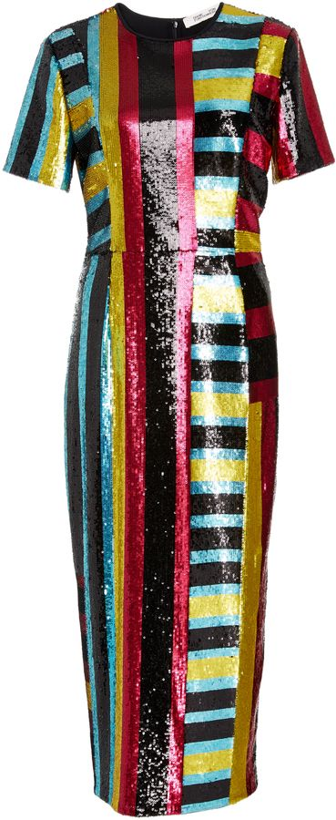 Diane von Furstenberg Saxon Stripe Sequin Dress