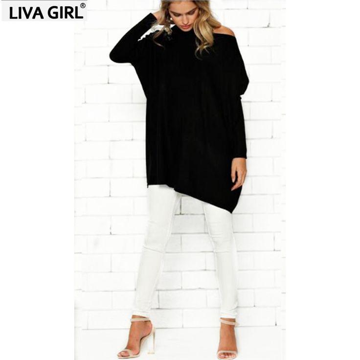 2017 Autumn T shirt women Tops Fashion Oblique neck Batwing Sleeve Plue size Loose Casual T shirts Maxi  #Affiliate