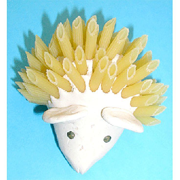 hérisson en pâtes, #knutselen, kinderen, basisschool, herfst, egel, klei, pasta